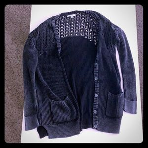 American Eagle Outfitters distressed black cardi